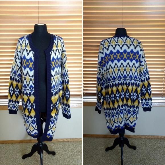 6bfad892a9 Fair Isle Long Cardigan Sweater Shrug Jacket M